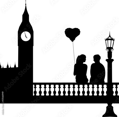 Couple in love in front of Big Ben in London silhouette