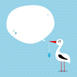 Babycard Boy Stork With Pacifier Speech Bubble Blue