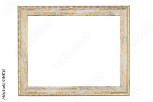 Shabby picture frame with blank space, isolated on white backgro