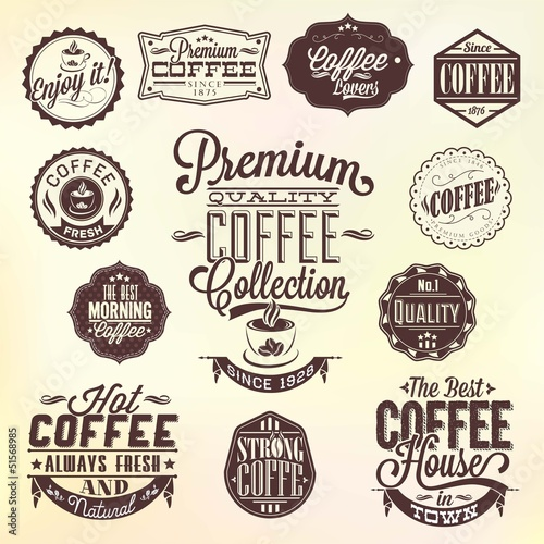 Plagát Set Of Vintage Retro Coffee Badges And Labels
