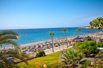 Beach  Playa de las Americas on Tenerife, Spain.