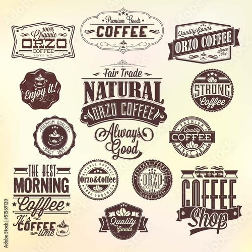 Set Of Vintage Retro Orzo Coffee Labels
