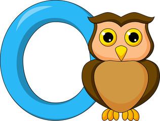 Alphabet O with owl cartoon