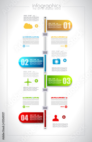 Infographic timeline design template with paper tags