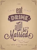 Wedding Invitation Vintage Typographic Background poster