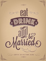 Wedding Invitation Vintage Typographic Background