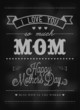 Happy Mother's Day Typographical Card On Blackboard With Chalk