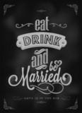 Wedding Typographic Invitation On Blackboard With Chalk poster