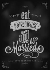 Wedding Typographic Invitation On Blackboard With Chalk