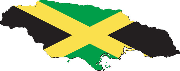 Map of Jamaica with national flag