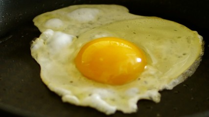 HD1080 Fried egg on black pan with sound