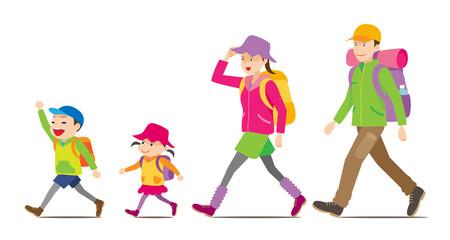 ハイキングへ行く家族