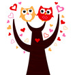 Cute vector love Owls on tree isolated on white