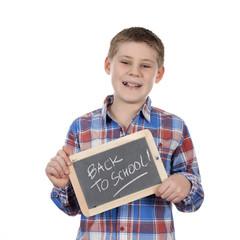 cute boy holding slate
