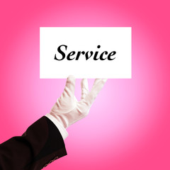 butler holding service card