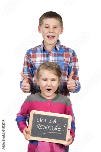children holding slate