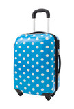 A cute luggage  with three handle and four wheels
