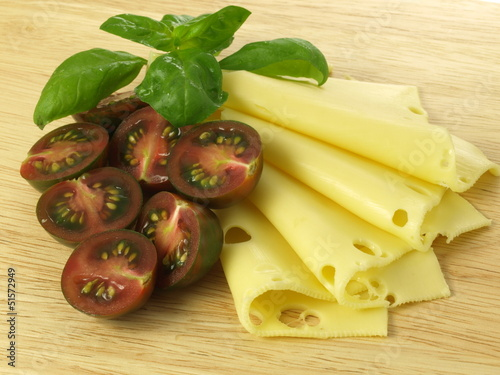 Tomatoes, cheese, basil