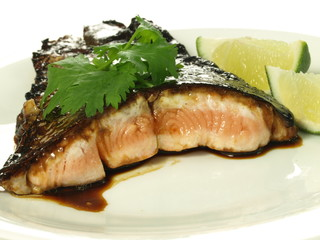 Fried fillet of salmon