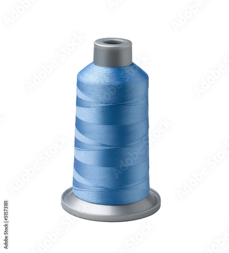 Bobbin of blue thread