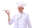 portrait of chef with tray isolated on white