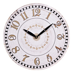 old round white wall clock isolated on white