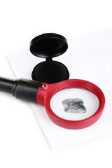 Fingerprint close-up isolated on white