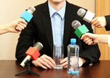 Conference meeting microphone with businessman or politician