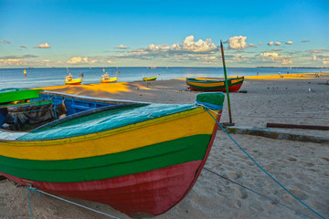 Fishing boats on the beach in Sopot, Polad.