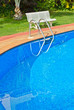 blue swimming pool close up