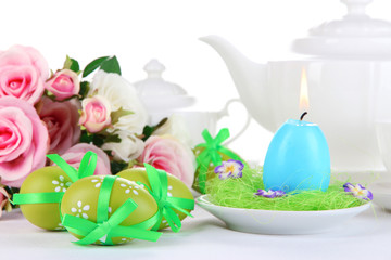 Place setting for Easter close up