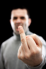 Man giving the finger (focus on hand)