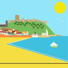 Seaside town, Deco Style Landscape