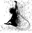 lustration of jumping silhouette  with musical background