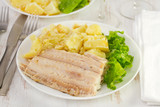 flounder with boiled potato poster