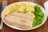 flounder with vegetables on the plate poster