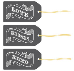 love kisses xoxo retro label