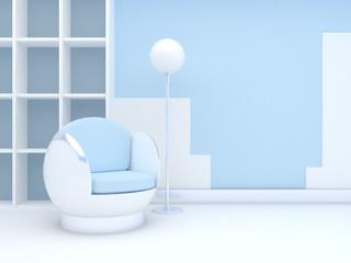 modern interior with round chair