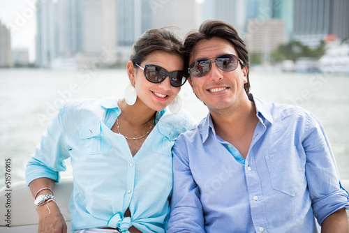 Romantic couple in a yacht