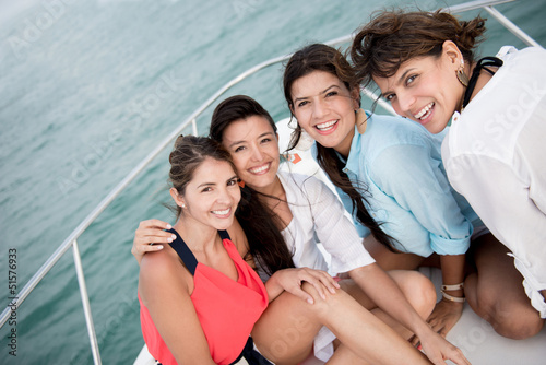 Group of friends in a boat