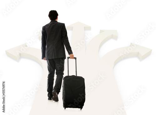 Business man picking next destination