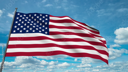 USA flag waving against time-lapse clouds background
