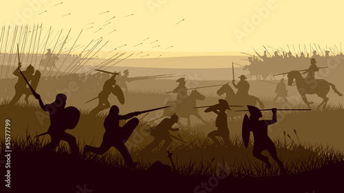 Abstract illustration of medieval battle. - 51577799