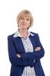 Blonde Rentnerin isoliert in Sakko und Bluse blau
