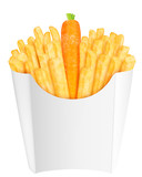 French fries with carrot in the packaging