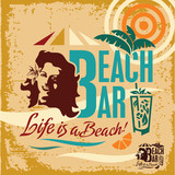 Beach party. Vintage Beach Bar poster. Woman on the beach.
