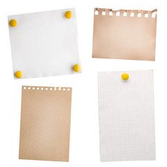 collection note paper  isolated on white