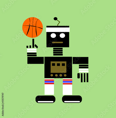 Deurstickers Robots cartoon robot playing basketball