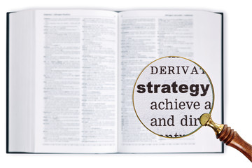 Strategy through a magnifying glass over Dictionary.