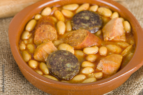 Fabada - Spanish bean stew with chorizo, ham and blood sausage